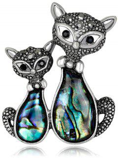 Stylish Cat Shape Shell Brooch - Black