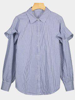 Button Up Ruffle Hem Gestreiftes Shirt - Streifen  S