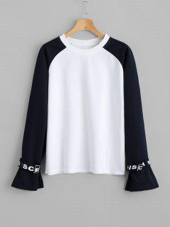 Raglan Sleeve Two Tone Sweatshirt - White S