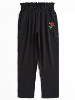 Pantalones De Capri Con Parches De Flores De Cintura Alta - Negro S