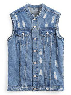 Button Up Distressed Denim Waistcoat - Denim Blue M