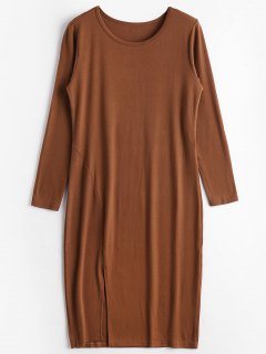 Slit Plain Long Sleeve Dress - Brown L