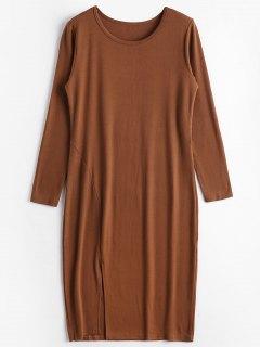 Slit Plain Langarm Kleid - Braun L