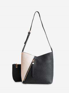 2 Pieces Color Block Crossbody Bag Set - Black