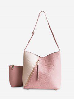 2 Pieces Color Block Crossbody Bag Set - Pink
