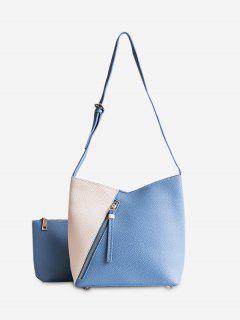 2 Pieces Color Block Crossbody Bag Set - Blue