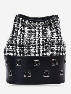Chain Plaid Eyelets Crossbody Bag - Black
