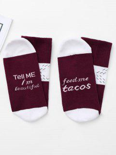 Graphic Color Block Christmas Socks - Wine Red