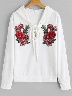 Floral Embroidered Lace Up Hoodie - White Xl