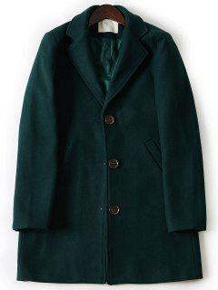Turndown Collar Single Breasted Longline Woolen Coat - Army Green Xl