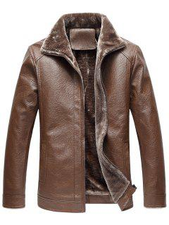 Turndown Collar Zip Up Fleece Faux Leather Jacket - Coffee L
