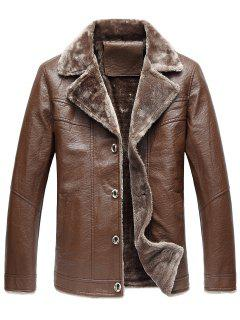 Turndown Collar Button Up Fleece PU Leather Jacket - Coffee 5xl