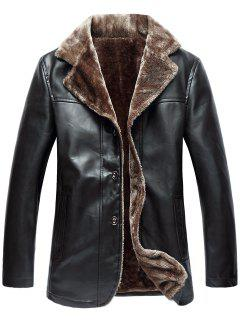 Turndown Collar Single Breasted Fleece PU Leather Jacket - Espresso 3xl
