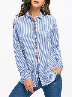 Floral Embroidered Drop Shoulder Striped Shirt - Light Blue M