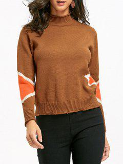 High Neck Color Block Pullover - Ingwer-gelb