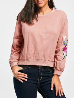 High Low Slit Flower Embroidered Sweatshirt - Pink