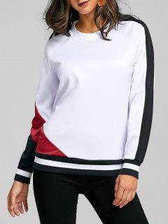 Sweat-shirt à Manches Raglan à Rayures Contrastantes - Blanc L