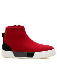 Side Zipper High Top Skate Shoes - Red 44