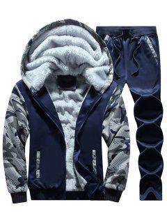 Flocking Camo Hoodie And Sweatpants Tracksuit - Purplish Blue 4xl