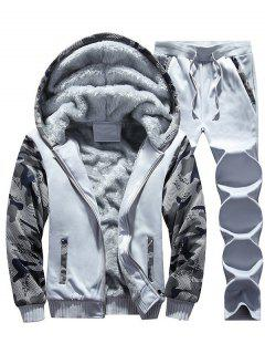 Flocking Camo Hoodie And Sweatpants Tracksuit - Light Gray 3xl