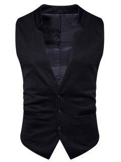 V Neck Edging Single Breasted Waistcoat - Black M