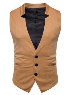 V Neck Edging Single Breasted Waistcoat - Khaki M