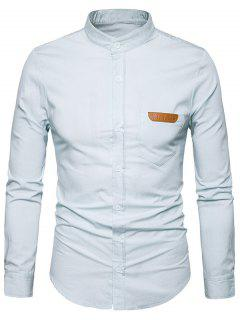 Stand Collar PU Leather Edging Chambray Shirt - White 2xl