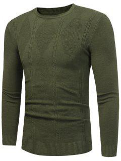 Rhombus Pattern Crew Neck Sweater - Army Green L