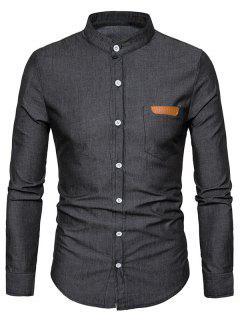 Stand Collar PU Leather Edging Chambray Shirt - Black M