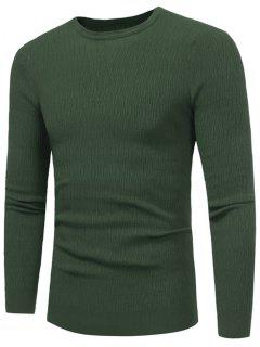 Crew Neck High Stretchy Sweater - Green Xl