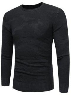 Crew Neck Irregular Pattern Sweater - Black M