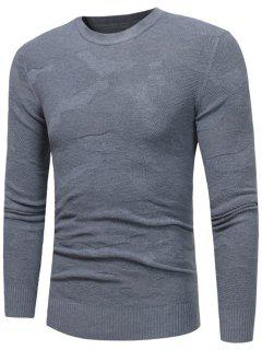 Crew Neck Irregular Pattern Sweater - Gray M