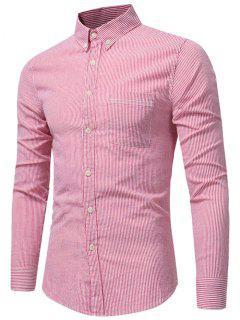 Knopf-unten Brust-Taschen-Streifen-Hemd - Wassermelone-rot M