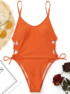 Side Lace Up High Cut Swimwear - Jacinth M