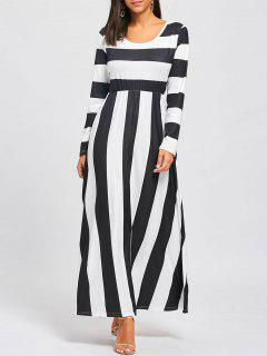 Striped Floor Length Long Sleeve Dress - Black And White Xl