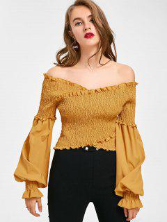 Off The Shoulder Puff Sleeve Crop Blouse - Mustard M