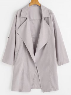 Drop Shoulder Lapel Trench Coat - Pale Pinkish Grey S