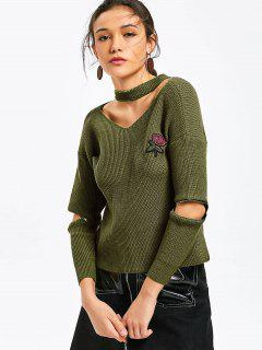Zippered Sleeve Rose Embroidered Choker Sweater - Army Green