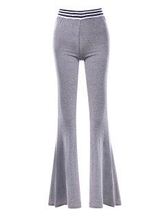 Stripe Panel Maxi Flare Pants - Gray 2xl