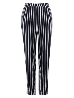 Casual Stripe Print Tapered Pants - Black Stripe 2xl