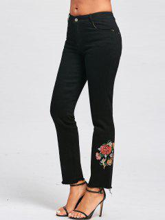 Floral Embroidered Zipper Fly Jeans - Black M