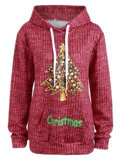 Kangaroo Pocket Rhinestone Christmas Tree Hoodie - Red L