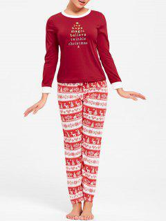 Christmas T Shirt With Pants Pajama Set - Red Xl