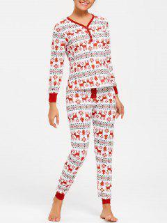 Elk Print Christmas Pajama Set - Xl