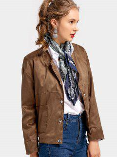 Snap Button Plain Jacket With Pockets - Brown M
