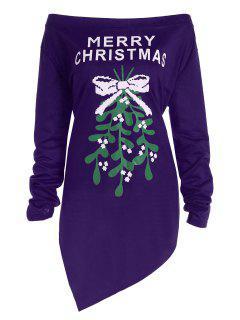 Plus Size Off The Shoulder Asymmetric Christmas T-Shirt - Purple 3xl