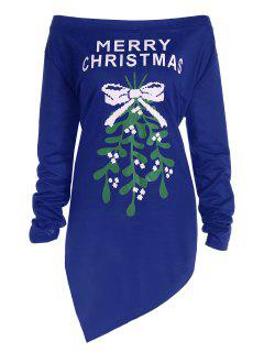 Plus Size Off The Shoulder Asymmetric Christmas T-Shirt - Blue 4xl