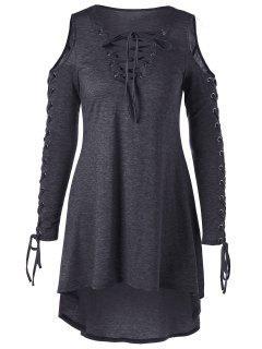 Lace Up Cold Shoulder Plus Size Dress - Dark Heather Gray Xl