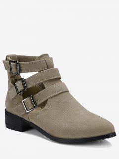 Ankle Hollow Out Buckle Strap Boots - Beige 40