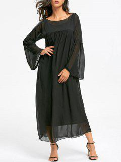 Flare Sleeve Empire Waist Floor Length Chiffon Dress - Black M